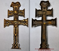 CARAVACA CROSS IN BRONZE CAST POLISHED BRASS BATH
