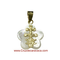 CARAVACA CROSS MEDAL GOLD AND FLOWER NACRE