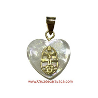 CARAVACA CROSS MEDAL GOLD AND HEART NACRE