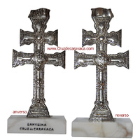 CARAVACA CROSS METAL DUPLEX WITH MARBLE BASE
