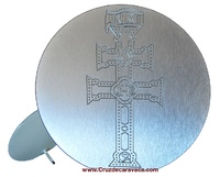 CARAVACA CROSS METAL SILVER ENGRAVED HOLLOW  RELIEF