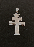 CARAVACA CROSS OF POLISHED SILVER LARGE TWO FACES