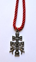 CARAVACA CROSS RELIEF WITH A BIG ANGELES DUPLEX WITH SILK CORD TO HANG