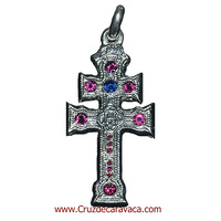 CARAVACA CROSS SOLID SILVER AND WITH 14 Zirconia (PESA 35 GRS.)
