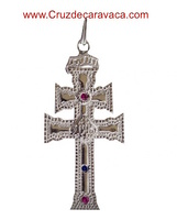 CARAVACA CROSS STERLING SILVER AUTHENTIC AS THE RELIC WITH SEMIPRECIOUS STONES