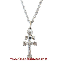 CARAVACA CROSS STERLING SILVER STONE BLUE CARVED GLASS