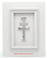 CARAVACA CROSS WHITE FRAME AND SILVER