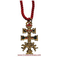 CARAVACA CROSS WITH ANGELS WITH HISTORY OF THE EMERGENCE OF THE CROSS WITH SILK CORD