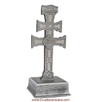 CARAVACA CROSS WITH BASE AND A HOLLOW CARVED RELIEF