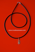 CARAVACA GOLD CROSS WITH BLACK RUBBER CORD