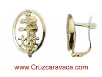 CRESCENT GOLD EARRINGS CROSS OF CARAVACA WITH ANGELS  FOR WOMAN