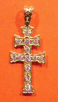 CROSS OF CARAVACA IN GOLD WHITH ZIRCONS