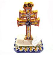 CROSS OF CARAVACA MADE IN CERAMIC. HAND PAINT