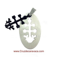 CROSS OF CARAVACA MEDAL OF STAINLESS STEEL AND ENAMEL