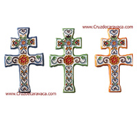 CROSS OF CARAVACA OF CERAMIC ENAMEL WITH HOOK TO HANG ON WALL