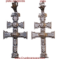 CROSS OF CARAVACA OF SILVER TO HANG A RELIEF TO TWO FACES