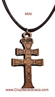 CROSS OF CARAVACA OF WOOD CARVED WITH CORD FOR HANGING