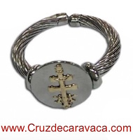 CROSS OF CARAVACA RING OF STEEL AND GOLD