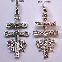 "CROSS OF CARAVACA SILVER AND ANGELES AND ENTRY ""CARAVACA"""