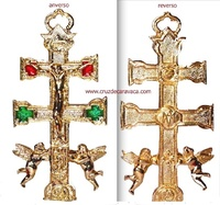 CROSS OF CARAVACA WITH ANGEL OF GOLD ENAMELED METAL  GR