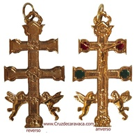 CROSS OF CARAVACA WITH ANGEL OF GOLD ENAMELED METAL  SMALL