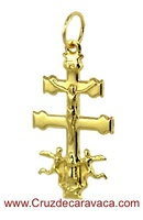 CROSS OF CARAVACA WITH ANGELES MADE IN GOLD 18 KARAT