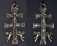 CROSS OF CARAVACA WITH ANGELES METAL CASTING