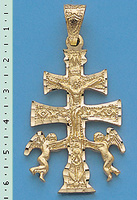 CROSS OF CARAVACA WITH ANGELS MADE IN GOLD C570