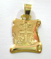 CROSS PENDANT CARAVACA GOLD  PARCHMENT 10539