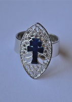 CROSS RING ENAMEL ON SILVER CARAVACA, IS ADJUSTABLE