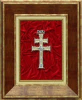 CROSS TABLE CARAVACA BATHROOM gold and precious stones (REPLICA) ON WOOD FRAME