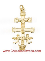 CRUZ DE CARAVACA CON ANGELES HECHA EN  ORO