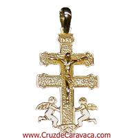 CRUZ DE CARAVACA DE ORO CON CRISTO ANGELES  A DOS CARAS