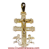 CRUZ DE CARAVACA DE ORO CON CRISTO ANGELES