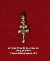 CRUZ DE CARAVACA DE ORO Y PIEDRAS ( CIRCONITAS)
