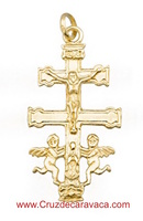 CRUZ DE CARAVACA ORO CON ANGELES