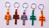 CRUZ KEYRING RUBBER CARAVACA -ASSORTED COLORS 5 COLORS-