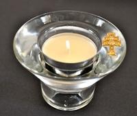 Cnadelabro Croce di Caravaca   in metallo e vetro, e una candela profumata