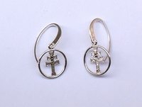 EARRINGS  CROSS OF  CARAVACA MADE IN SILVER