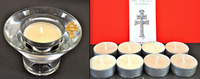 GLASS CANDLEHOLDER CANDLES AND LOT OF 8