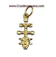 GOLD CROSS, CROSS OF CARAVACA WITH ANGELES