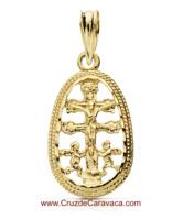 GOLDEN CROCE CON ANGELES CARAVACA E CRISTO IN MEDAGLIA 2,5 GRAMI DI PESO