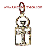 GOLDEN CROSS CARAVACA FRAMED IN GOLD MOUNT