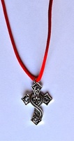 GOTHIC CROSS TO HANG WITH RED SILK CORD
