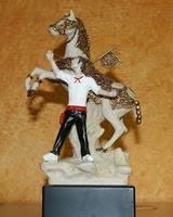 HORSE OF WINE OF CARAVACA CROSS IN SCULPTURE ENAMELLED