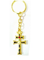 KEYCHAIN CROSS OF CARAVACA ENAMEL PEQGOLD METAL