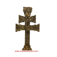 MAGNET CROSS OF CARAVACA OF WOOD CARVED WITH CORD FOR HANGING