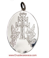 MEDAL CROSS CARAVACA WITH ANGELS SILVER  OVAL
