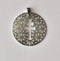 MEDAL CROSS OF CARAVACA AND FLOWERS IN SILVER PENDANT
