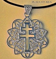 MEDAL CROSS OF CARAVACA DE SILVER PUFF F3486